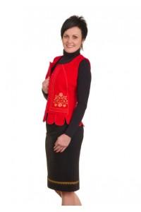 """Камізелька """"Червона з розово-салатовою вишивкою """" М-10072-5"""