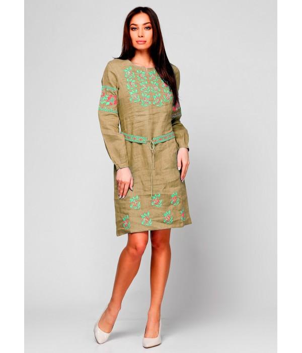 Плаття вишите жіноче М-1034-99 (бежевого кольору), Плаття вишите жіноче М-1034-99 (бежевого кольору) купити