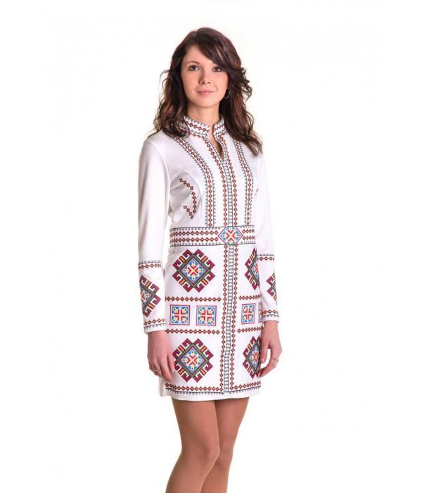 Платье вышитое крестиком «Карпатское» М-1026-1, Платье вышитое крестиком «Карпатское» М-1026-1 купити