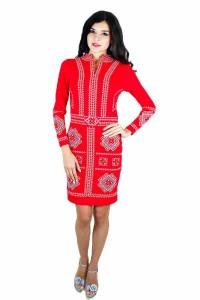 Платье вышитое крестиком «Карпатское» М-1026-2