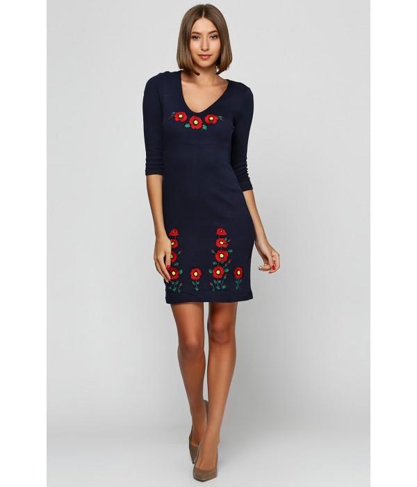 Платье вышито гладью «Маки 3D» М-1025-1, Платье вышито гладью «Маки 3D» М-1025-1 купити