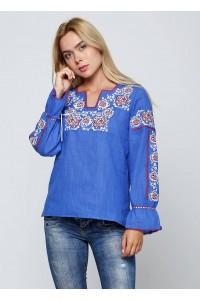 Синяя женская вышитая рубашка  М-230-3