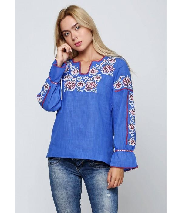 Синя жіноча вишиванка М-230-3, Синя жіноча вишиванка М-230-3 купити