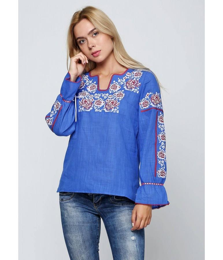Синя жіноча вишиванка М-230-3 купити у Львові 25d4a4323d21e