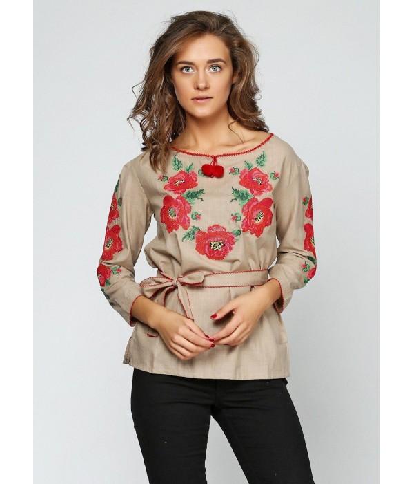 """Рубашка вышитая женская Етномодерн """"Цветочный венок"""" М-223-3, Рубашка вышитая женская Етномодерн """"Цветочный венок"""" М-223-3 купити"""