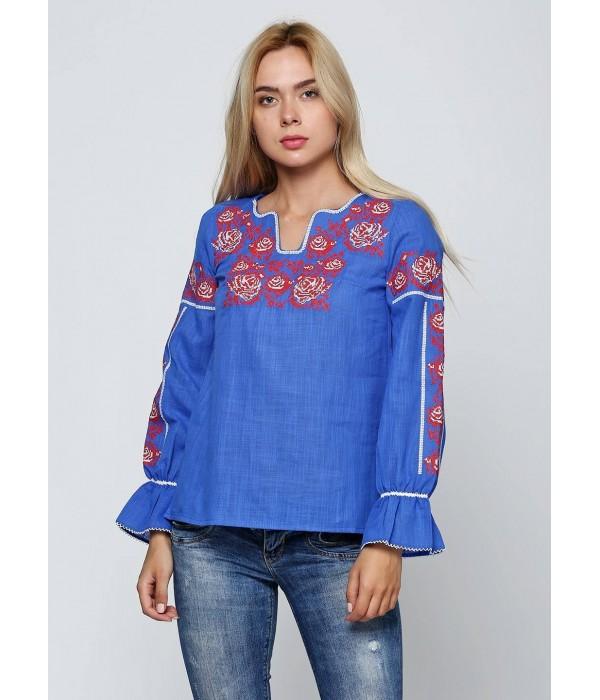 Синяя женская вышитая рубашка  М-230-2, Синяя женская вышитая рубашка  М-230-2 купити