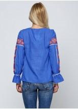 Синяя женская вышитая рубашка  М-230-2